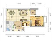五岭国际2室2厅1卫55平方米户型图