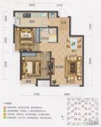 保利・茉莉公馆2室2厅1卫74平方米户型图