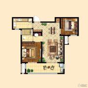 中粮祥云2室2厅1卫77平方米户型图