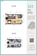融创滨江壹号1室1厅1卫38平方米户型图