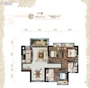 清溪碧桂园・天誉3室2厅2卫0平方米户型图