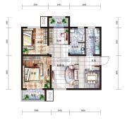 中国铁建国际城3室2厅1卫95平方米户型图