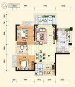 中通水岸2室2厅1卫83平方米户型图