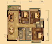 汇乔金色名都3室2厅2卫90平方米户型图