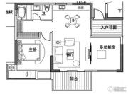 万科双月湾1室2厅1卫84平方米户型图