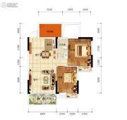 天悦华府2室2厅1卫75平方米户型图