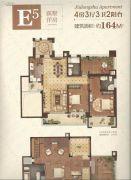 中建中央公园4室3厅3卫164平方米户型图