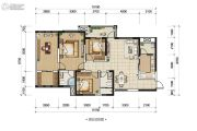 五和苹果国际社区3室2厅2卫124平方米户型图