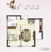 城建世纪佳园1室1厅1卫54平方米户型图