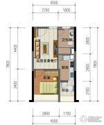 华强城市广场1室1厅1卫46平方米户型图