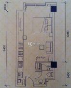 恒通・城尚城1室1厅1卫47平方米户型图
