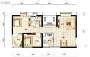 福星惠誉福星华府2室1厅1卫88平方米户型图