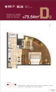 星颐广场1室1厅2卫75平方米户型图
