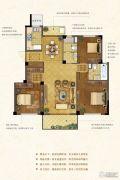 紫金华府3室2厅3卫128平方米户型图