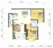 东方明都2室2厅1卫80平方米户型图