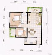 东方国际园2室2厅1卫92平方米户型图