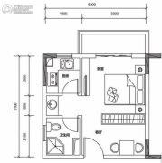 保利山水城1室1厅1卫40平方米户型图