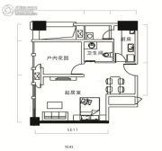 天祺佰潮汇1室1厅1卫48平方米户型图