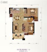 长投珑庭2室2厅1卫80平方米户型图