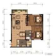 领美・大学家园2室2厅1卫74平方米户型图