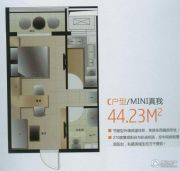富尔沃财富广场1室1厅1卫44平方米户型图