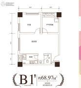 中国电建・湘熙水郡2室1厅1卫68平方米户型图