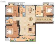 武汉锦绣香江3室2厅2卫124--125平方米户型图