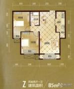 建投御河新城2室2厅1卫85平方米户型图