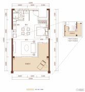合正东部湾1室1厅1卫65平方米户型图