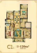 大自然・外滩柏悦4室2厅2卫120平方米户型图