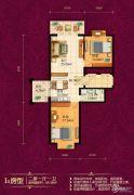 恒祥城2室1厅1卫69平方米户型图