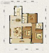 德信・元湖一号3室2厅2卫107平方米户型图