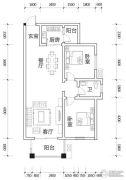 亿豪名园2室2厅1卫91平方米户型图