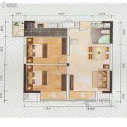 盛荟天地2室2厅1卫77平方米户型图