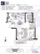 烟台莱山宝龙广场3室2厅1卫104平方米户型图