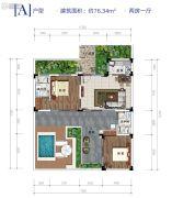 雅居乐原乡2室1厅0卫76平方米户型图