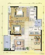 元邦明月水岸2室2厅1卫90平方米户型图