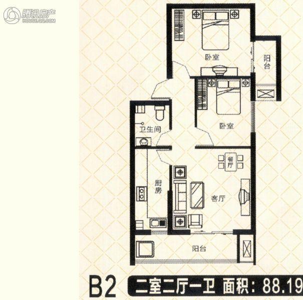 砥柱大厦B-2 2室2厅1卫1厨88㎡