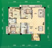 东和园3室2厅2卫84平方米户型图