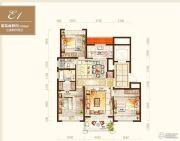 绿地海外滩3室2厅2卫128平方米户型图