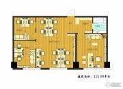 鑫明国际3室2厅1卫115平方米户型图
