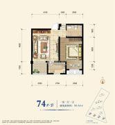 教授花园新里程1室1厅1卫56平方米户型图