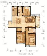 江山花园3室2厅2卫128平方米户型图