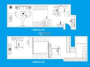 TOUCH悦城2室2厅2卫126平方米户型图