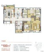 雅居乐万科热橙3室2厅0卫100平方米户型图