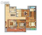 万达广场3室2厅2卫120平方米户型图