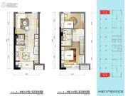 普陀龙湾2室2厅2卫49平方米户型图