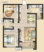 荣民宫园中央2室2厅1卫95平方米户型图