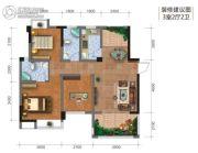 钻石广场3室2厅2卫92平方米户型图