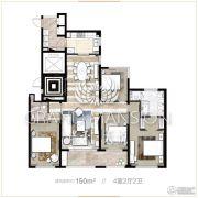 保利天悦4室2厅2卫150平方米户型图